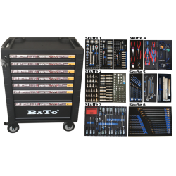 BATO Værktøjsvogn 7 skuffer 437 dele. 9107-437