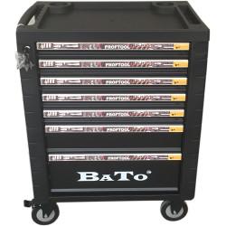 BATO Værktøjsvogn 7 skuffer. 5 små, 1 mellem, 1 stor. Sort. 9107