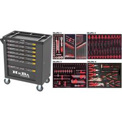 HEBA Tools værktøjsvogn med 7 skuffer og 183 dele værktøj i 4 skuffer 91021
