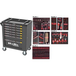 HEBA Tools værktøjsvogn med 7 skuffer og 206 dele værktøj i 5 skuffer EVA skum 91022