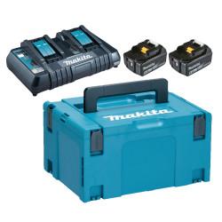 Makita batteripakke m. 2x18V 6,0Ah batterier BL1860 og 1 x dobbelt lynlader 198077-8