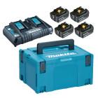 Makita batteripakke m. 4 x18V 6,0Ah batterier BL1860 og 1 x dobbelt lynlader 198091-4