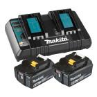Makita batteripakke m. 2x18V 6,0Ah batterier BL1860 og 1 x dobbelt lynlader 199484-8