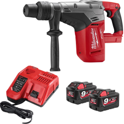 Milwaukee M18CHM-902C bore-/mejselhammer sds-max 18V m/2x9,0Ah batterier 4933451361