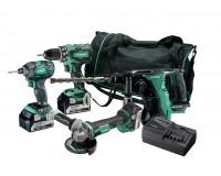 Hikoki 18v værktøjssæt KC18DG4L(S) DS18DBSL(S) + DH18DBL+ WH18DBDL2 + G18DBL med 3 stk. 5,0 batterier 68000539