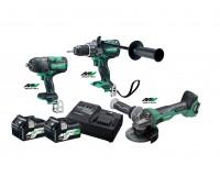 Hikoki 36v værktøjssæt DS36DA +WR36DA+G3613DA med 2 stk BSL36A18 18/36V multivolt batterier 68000546