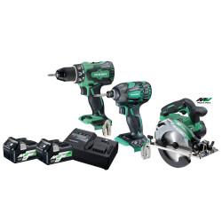 Hikoki 36v værktøjssæt C3606DA+WH18+DS18DBSL med 2 stk BSL36A18 18/36v multivolt batterier 68000547