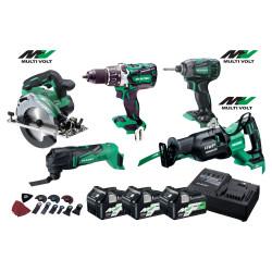 Hikoki 36v værktøjssæt WH36DB+C3606+CR36+CV18+DBL2 18/36v med 3 stk. BSL36A18 batterier 68000549