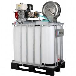 Reno højtryksrenser med lanse  til algebehandling, tagrens, solcelle rens på 800L palletank m/el start 200/15 B20017-S8-800