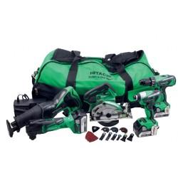 Værktøjssæt med 5 kulfrie maskiner - Hitachi 60000403
