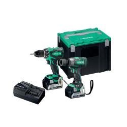 Værktøjssæt m/ boreskruemask. DS18DBSL og slagnøgle WR18DBDL2 i 18V m/ 2 stk 5,0Ah batterier - Hitachi KC18DPL