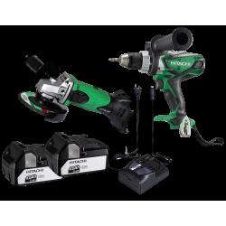 Værktøjssæt med Akku boreskruemaskine og vinkelsliber 18V 4,0Ah - Hitachi DS18DSDL-G18DSL-4