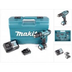 Slagboremaskine 10,8V akku m. 2 stk. 2,0Ah batterier og bitsæt på 74 dele - Makita HP331DWAX1