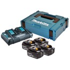 Batteripakke 18V m. 4 stk. BL1840B 4,0Ah batterier m. indikator og 1 x lynlader med usb - Makita 197503-4