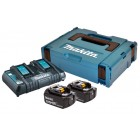 Batteripakke 18V m. 2 stk BL1840B 4,0Ah batterier m. indikator og 1 x dobbeltlader - Makita 197504-2