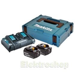 Batteripakke 18V m. 2 stk BL1850B 5,0Ah batterier m. indikator og 1 x lynlader - Makita 197629-2