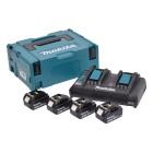 Batteripakke 18V m. 4 stk BL1830 3,0Ah batterier og 1 x dobbelt lynlader med usb - Makita 197720-6
