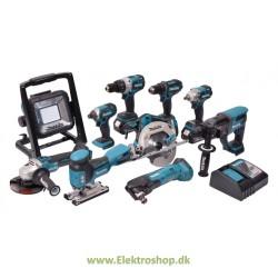 Kombo kit med 10 maskiner m. 3 stk 4,0Ah batterier - Makita DLX1007MJ