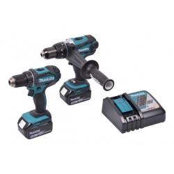 Værktøjssæt med slagboremaskine og boreskruemaskine18V m. 2 stk 5,0Ah batterier - Makita DLX2227TJ