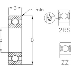 Enradet cylindrisk rulleleje - NU1017M d=85 D=130 B=22